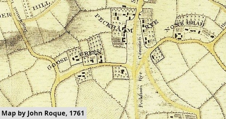 Old map showing Goose Green and Peckham Rye, map by John Roque 1761