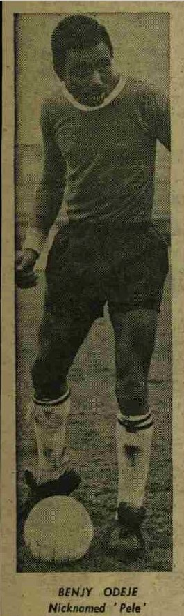 Black & White image of Benjamin Odeje in his football kit