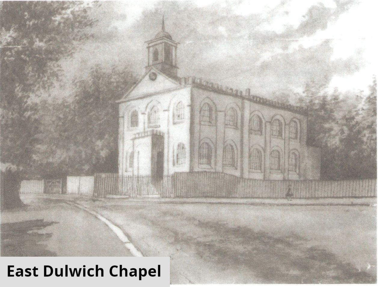 Black and white drawing of East Dulwich Chapel