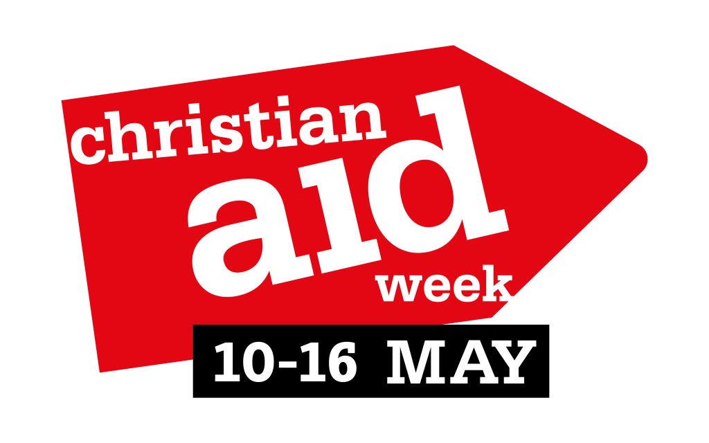 Image of the Christian Aid logo which is shaped like an arrow with date of 10-16 May