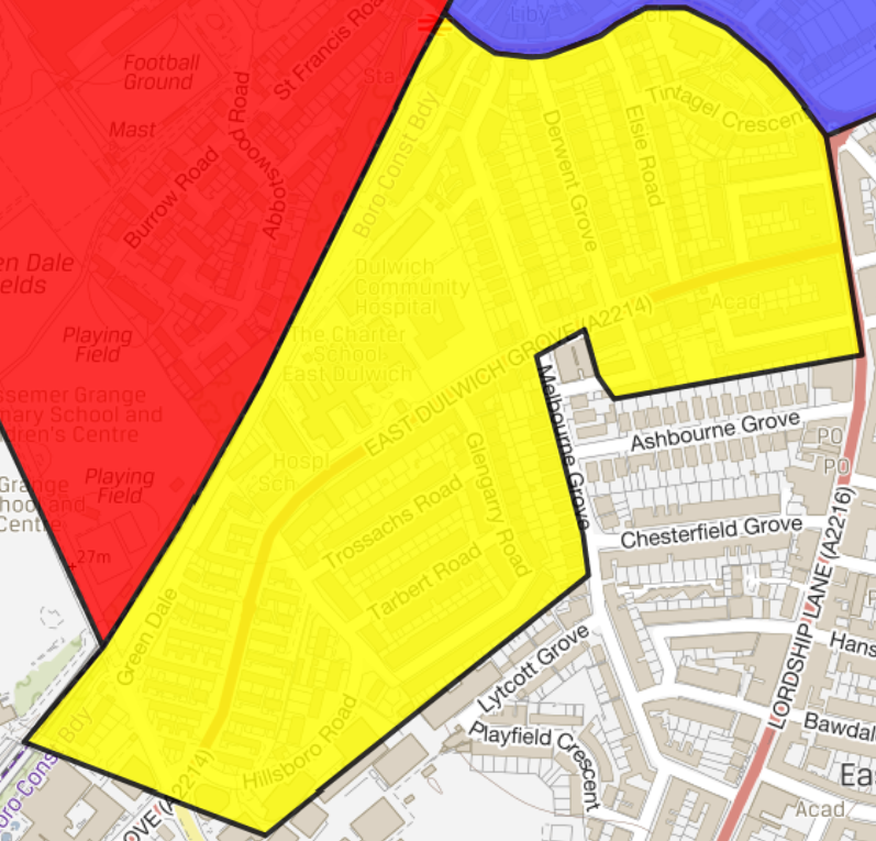map of East Dulwich controlled parking zone