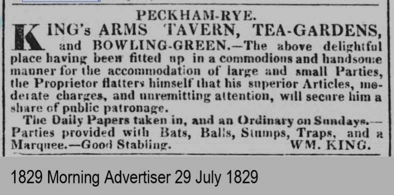 Cutting from Morning Advertiser 1829 about King's Arms Tavern, Tea Gardens and Bowling Green