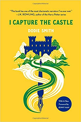 Book cover of I Capture the Castle showing castle, pathway and pen entwined