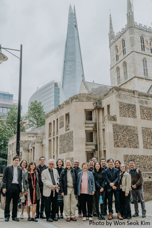 The Teahouse launch attendees outside Southwark Cathedral