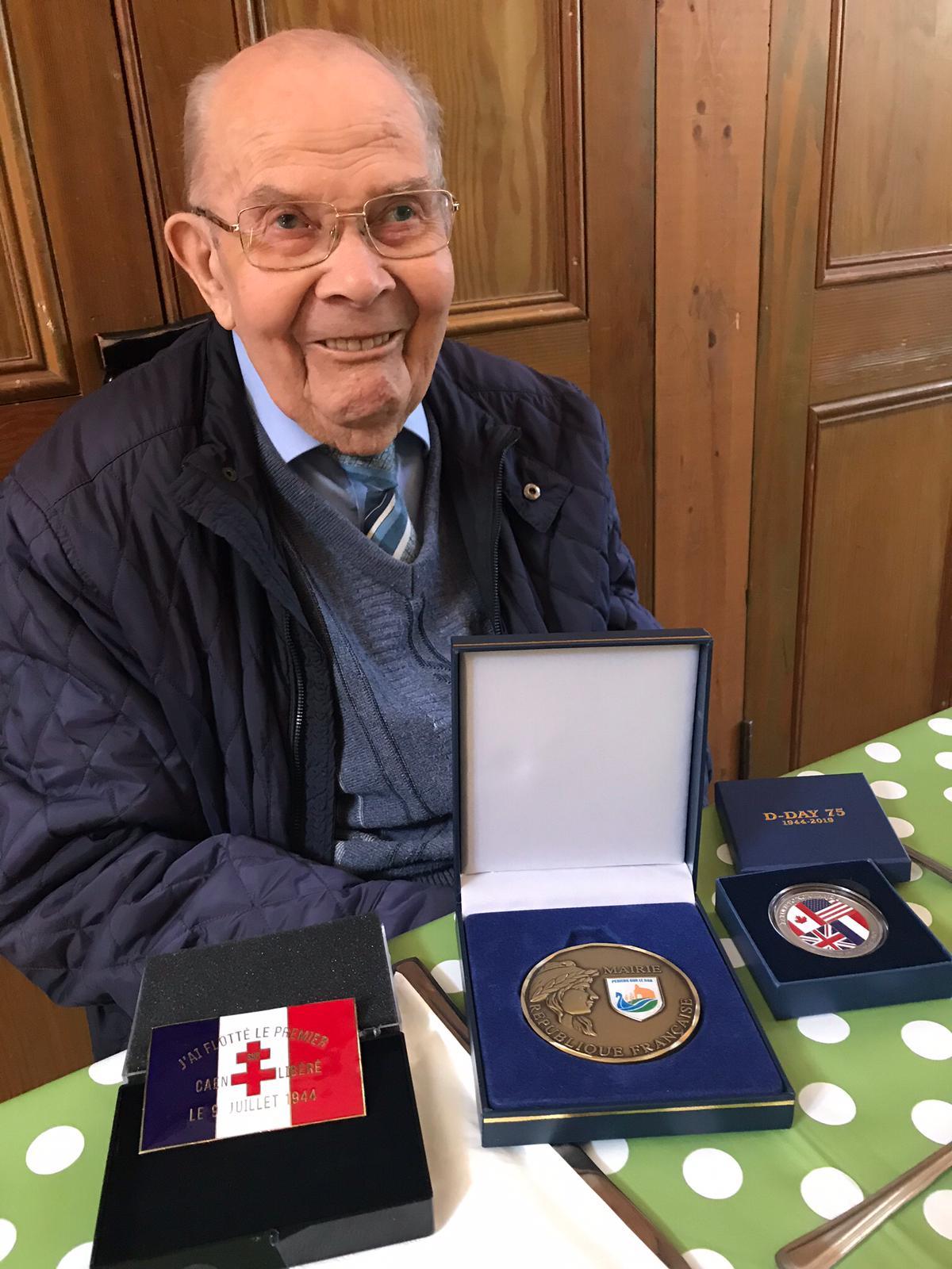 Photo of Bert with war medals