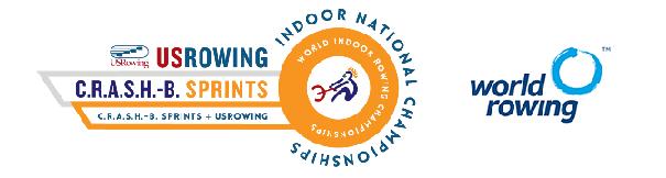 2020 CRASH-B combined logo and World Rowing logo