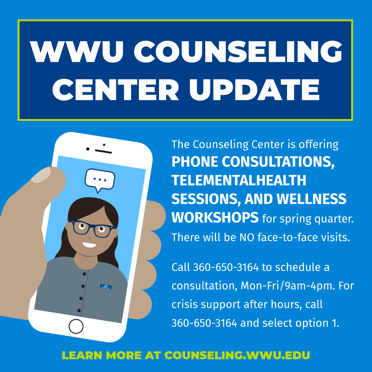 flyer with information about counseling center resources