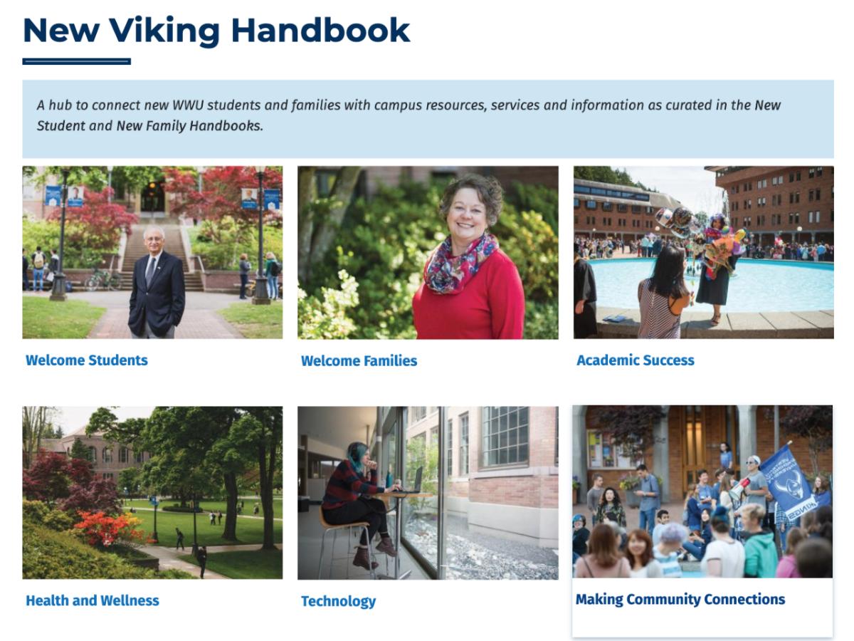 Image of WWU Orientation website