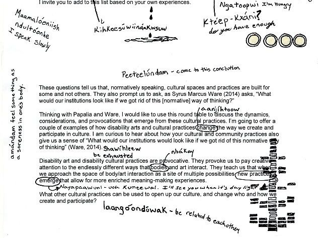 Vanessa Dion Fletcher's annotated version of Eliza Chandler's provocation for the roundtable. It has Dion Fletcher's handwritten annotations in Lenape, and some doodles, overtop of Chandler's typed text.