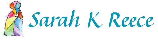 Logo of Sarah K Reece. Image shows a human-shaped stained glass window featuring a heart on the chest. Colours are vibrant, but softly blended, like watercolours.