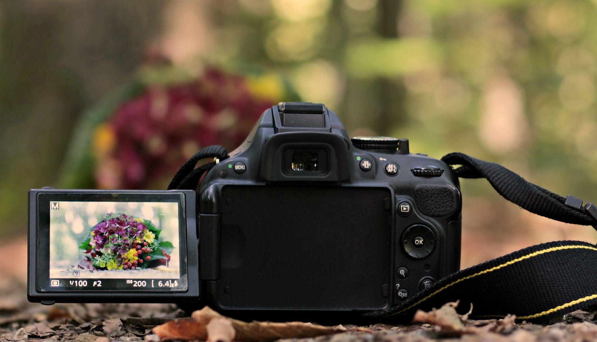 Digitalkamera aufgeklappt mit Motiv