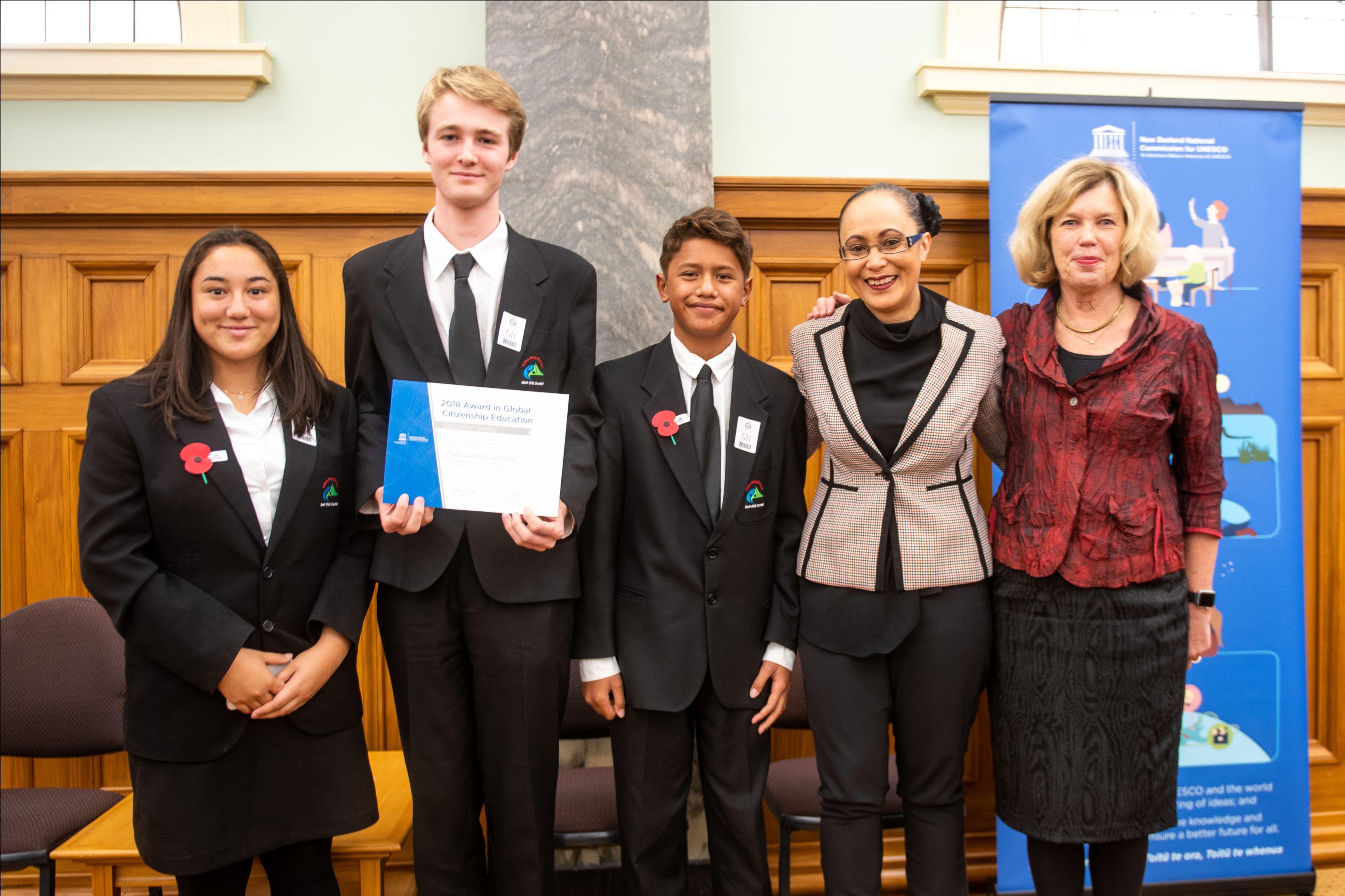Minister Jenny Salesa with 2018 GCED award winners
