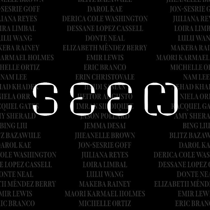 "The ""Seen"" logo is placed over a grayed out list of contributors' names (the full list can be read at seen.blackstarfest.org)."