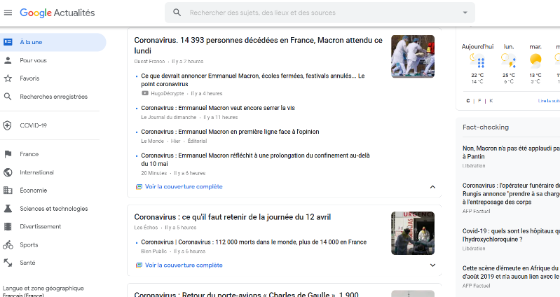 Google News page as viewed by a user in France.