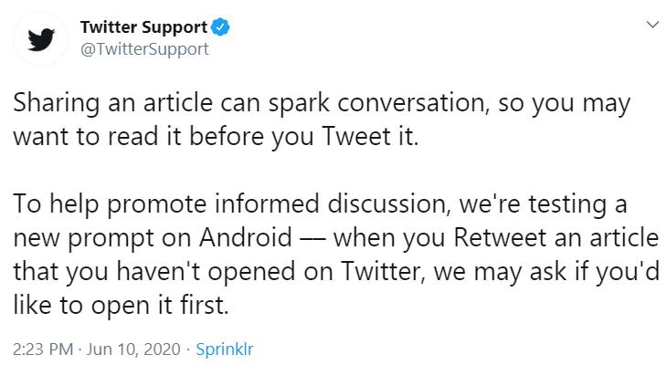 Twitter read before retweet announcement