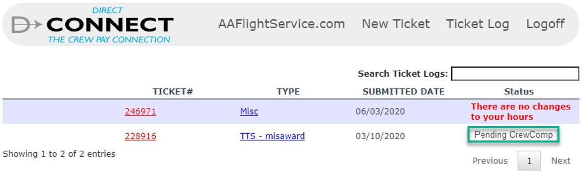 Claim status update appears in Ticket Log
