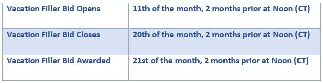 Vacation Filler bid dates