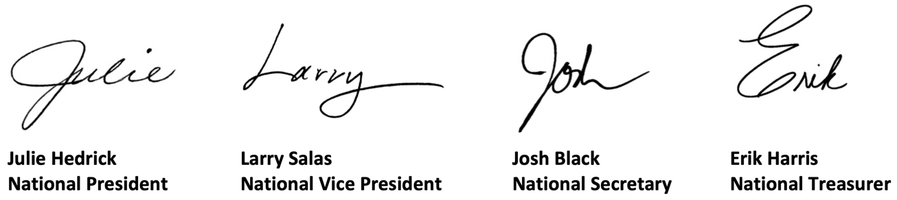 National Officer signatures