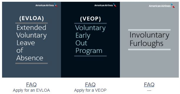 American Airlines information for EVLOA, VEOP, and Involuntary Furloughs