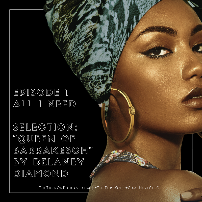 Black square with image of Black woman in patterned headwrap and gold hoops looks back over her shoulder.