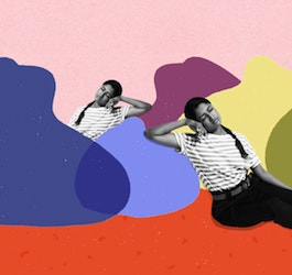 Graphic of Woman Trying to Fall Asleep while Leaning on False-Color Clouds