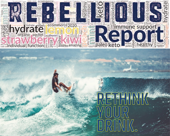 Rebellious Report Logo plus Male Surfer Cresting Large Wave