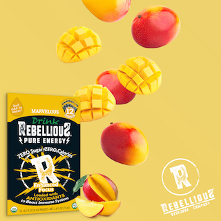 12-pack of Rebellious Marvelous with sliced & whole mangoes falling near it