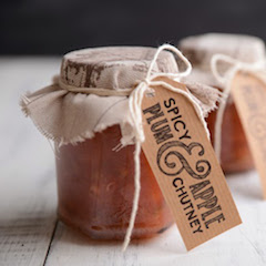 Jars of Spicy Plum & Apple Chutney