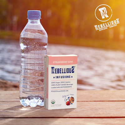 Plastic Water Bottle and Box of Rebellious Infusions in Strawberry Kiwi Flavor
