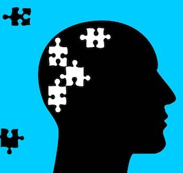 Graphic of White Puzzle Pieces Missing from Silhouetted Head with Black Puzzle Pieces Floating on Light Blue Background