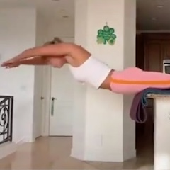 Swimmer Using Kitchen Counter to Practice