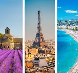 Three Phots of France: Old Building in Vineyard, Eiffel Tower, Côte d'Azur