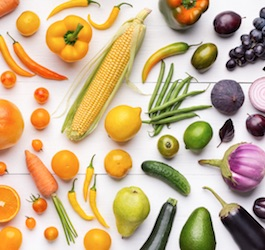 Fruits & Vegetables of Many Colors on White Table