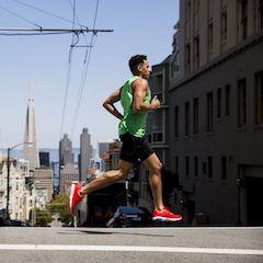 Man Mid-stride Running on San Francisco Street