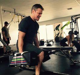 Actor Matt Damon Works Out in Gym