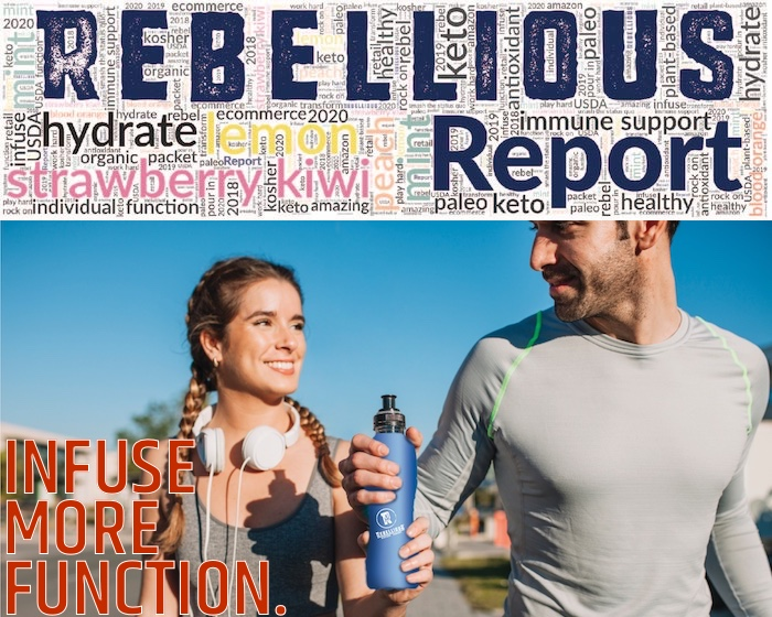 Male and Female Runners Sharing Blue Drink Bottle