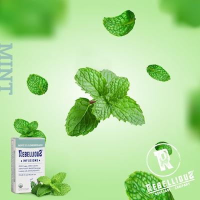 Mint Leaves Falling thru Air
