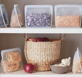 Two Shelves with Baskets and Reusable Stashers Bags