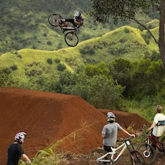 Cyclist Getting Big Air during Filming of 'Return to Earth' in Hawaii (photo by Sterling Lorence)