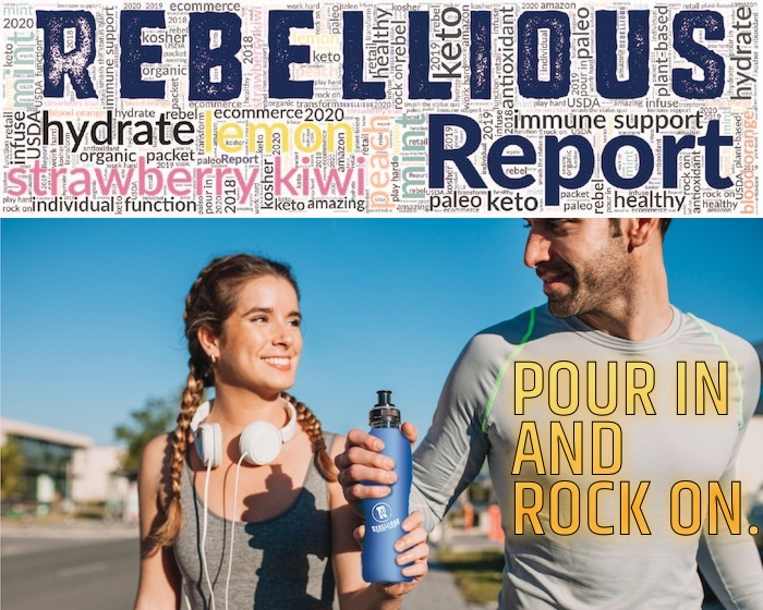 Rebellious Report Logo plus Man and Woman Runners Sharing Blue Drink Bottle