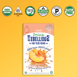 Rebellious Infusions Peach 12-pack with Organic, Kosher and other logos