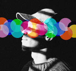 Black & White Profile of man wearing cap and sweater with colorful graphics overlaid on image