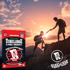 Rock Climbers Silhouetted Against Setting Sun with 12-pack of Rebellious Pure Energy Courageous Graphic Overlay