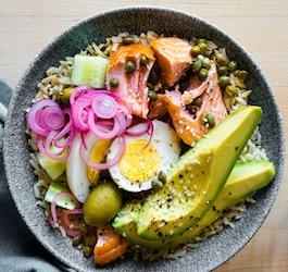 Pan of Veggies, Salmon, Rice, and Eggs