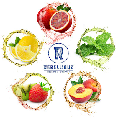 Rebellious Beverage Company Logo Surrounded by Colorful Displays of Fruits Representing Five Flavors