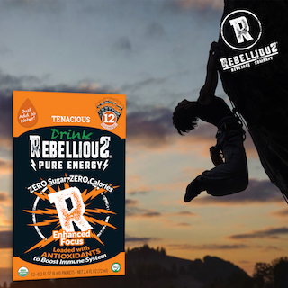 Silhouette of Rock Climber with 12pk of Rebellious Tenacious