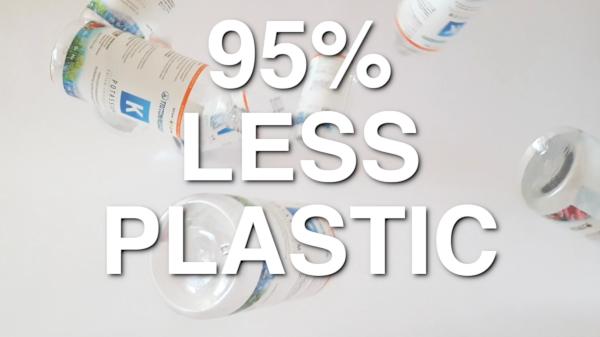 Youtube Vorschaubild von fallenden Plastikflaschen.