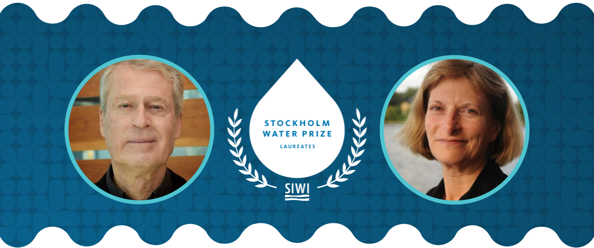 Portaits of Stockholm Water Prize laureates 2020: John Cherry and 2021: Sandra Postel in blue circles with the SWP logo in the middle on a dark blue background