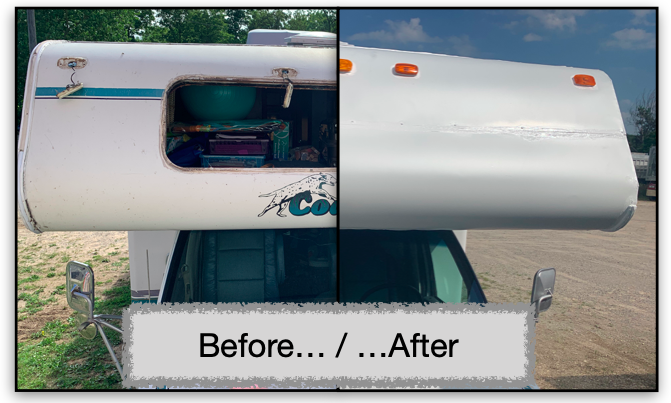 Before and after pic of RV repair