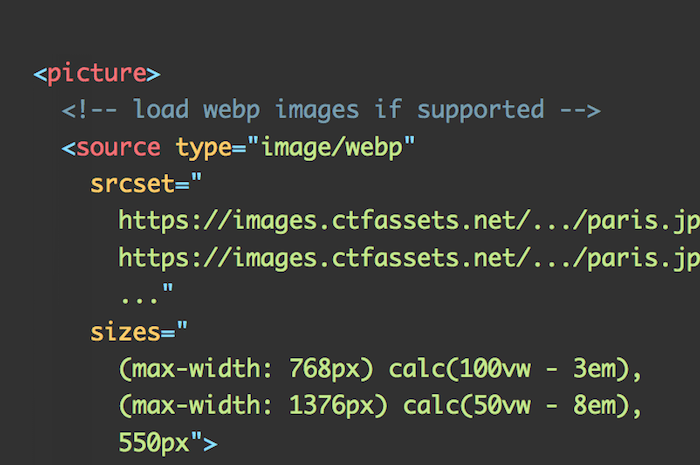 A picture element to load correctly resized webp images in HTML